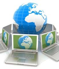 internet, global network, computers around globe. 3d render