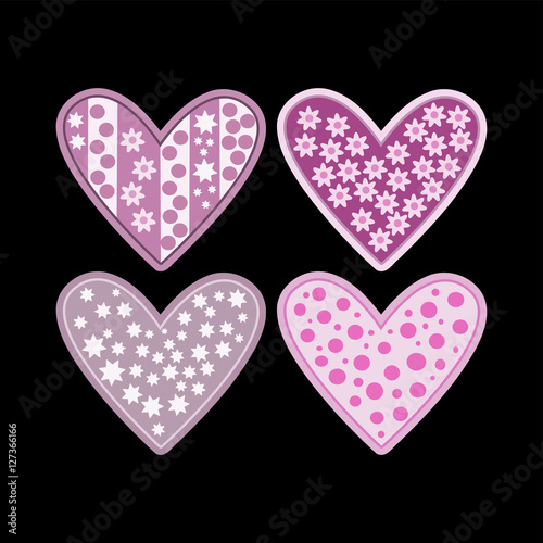 """""""Pink purple hearts with flowers stars and polka dots ..."""