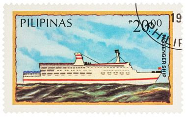 Passenger ship on postage stamp