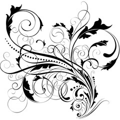 Swirl leaf black design