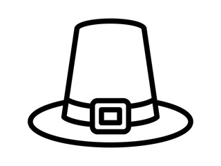 Pilgrim hat on Thanksgiving or capotain line art icon for apps and websites