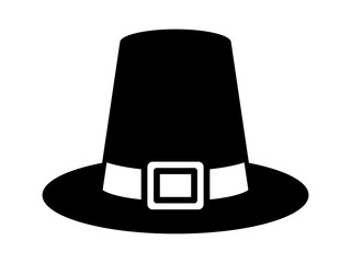 Pilgrim hat on Thanksgiving or capotain flat icon for apps and websites