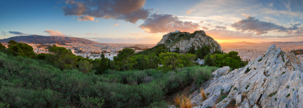 View of Athens from Lycabettus Hill, Greece.