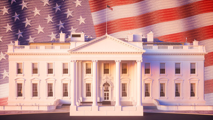 Fototapete - White House USA Flag