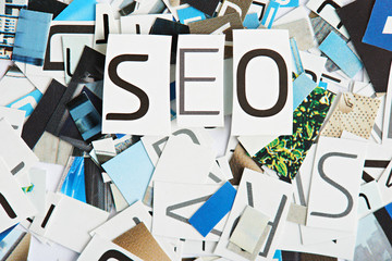 Word SEO cutout from magazine paper