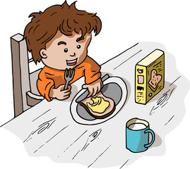 Jongen smeert een boterham