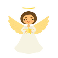 Smiling angel holding a star
