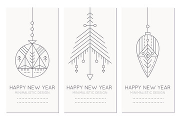 Happy New Year greeting card template with hanging decorations
