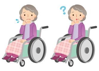 車椅子に乗る高齢者 表情 ポーズ