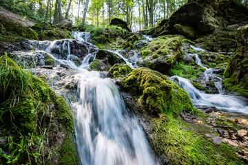 rocky waterfall in summer