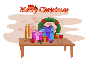 Colorful gift and presents for Merry Christmas and New Year