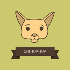 Chihuahua breed dog for logo design. Vector colored hand drawn dog head