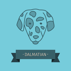 Dalmatian breed dog for logo design. Vector colored hand drawn dog head