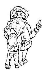 Meisje trekt aan baard van de kerstman
