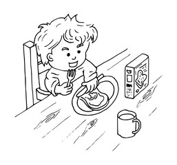 Kind smeert boterham met boter
