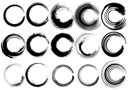 Inked circle brush set.Brushes included in the design