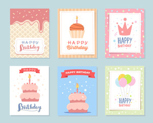 Vector set of colorful illustration. Happy birthday template pos