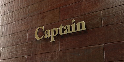 Captain - Bronze plaque mounted on maple wood wall  - 3D rendered royalty free stock picture. This image can be used for an online website banner ad or a print postcard.