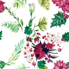 Christmas botanical watercolor pattern