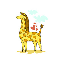 Hand drawn vector illustration of cute giraffe. Can be used for kid's or baby's shirt design, fashion graphic, fashion print design, t-shirt and kids wear.