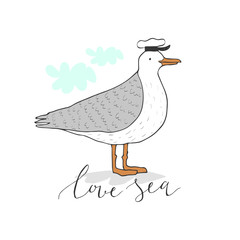 Cartoon seagull in a peakless cap. Hand drawn vector illustration. Can be used for kid's or baby's shirt design, fashion graphic, fashion print design, t-shirt and kids wear.