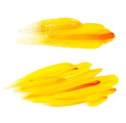 yellow brush painted acrylic background. Art abstract brush pain
