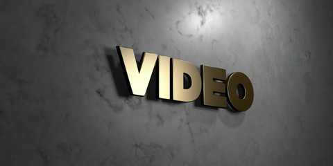 Video - Gold sign mounted on glossy marble wall  - 3D rendered royalty free stock illustration. This image can be used for an online website banner ad or a print postcard.