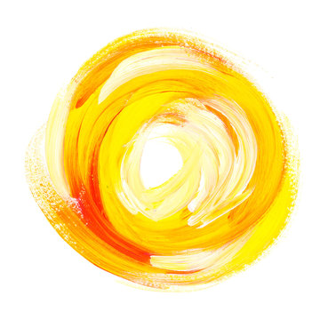 oil paint abstract yellow sun. acrylic brush stroke in circle. h