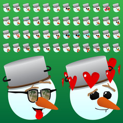 Vector illustrated cartoon face set of a snowman