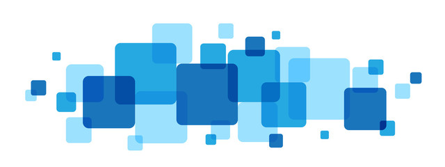 OVERLAPPING BLUE SQUARES BANNER
