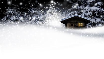 Schihütte mit Weihnachtsbaum bei Nacht Wall mural