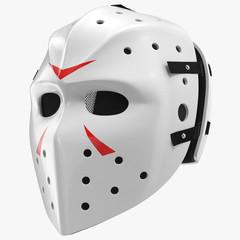 vintage hockey mask on white. 3D illustration