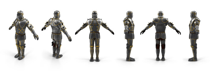 Old metal knight armour renders set from different angles on a white. 3D illustration