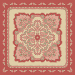 Decorative abstract colorful background, square geometric floral pattern with ornate lace frame, tribal ethnic ornament. Bandanna shawl fabric print, silk neck scarf, kerchief design vector decoration