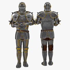 Old metal knight armour isolated on white. 3D illustration