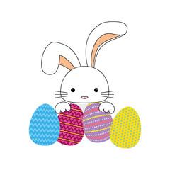 Happy easter bunny cartoon icon vector illustration design