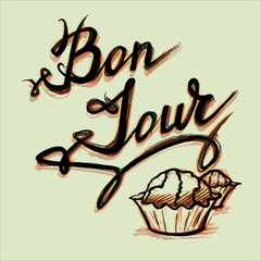 good afternoon bonjour French lettering sweet vector