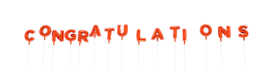 CONGRATULATIONS - word made from red foil balloons - 3D rendered.  Can be used for an online banner ad or a print postcard.