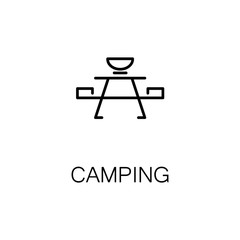 Camping flat icon or logo for web design.