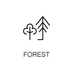 Forest flat icon or logo for web design.