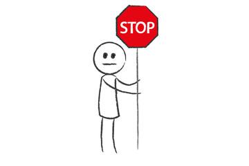 Person mit Stop Schild - Warnung - Problem