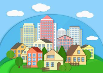 Modern city town cardboard landscape. Paper color style urban city vector illustration.
