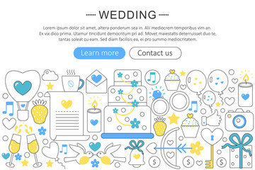 Vector elegant thin flat line Wedding concept. Website header wedding banner elements layout. Presentation, flyer and poster.