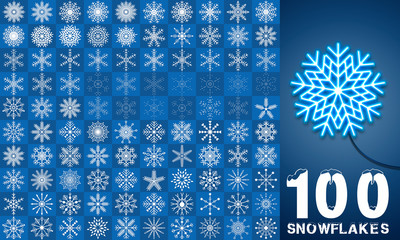 Snowflake Set - 100 vector Illustrations