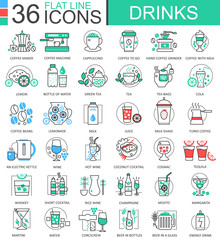 Vector drinks flat line outline icons for apps and web design. Drink icon.