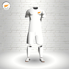 eps 10 vector football Cyprus team player uniform template. National colors sportwear. Cypriot flag button chrome ring. Brick wall background
