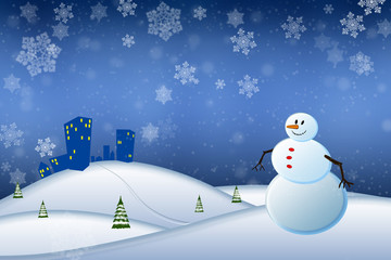 Abstract winter scene with a snowman and snowflakes
