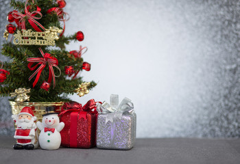 Christmas decoration on abstract blur light background