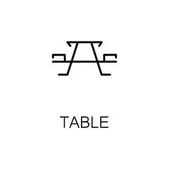 Table flat icon or logo for web design.
