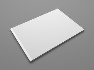 Blank landscape format 3D illustration brochure mock up